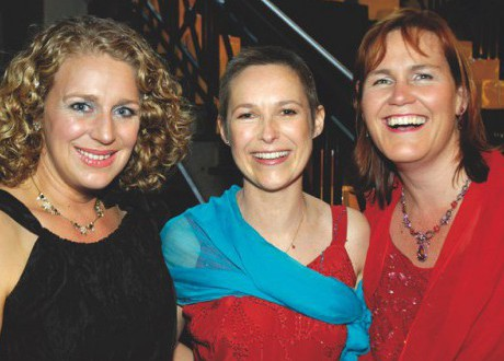 L to R Julie Goodman Mhairi Flett and Rose Crossland at the ball